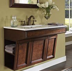 """Sleek angled floating #bathroom #vanity. ADW3621 Fairmont Newhaven 36"""" Wall Mount Vanity - Nutmeg"""