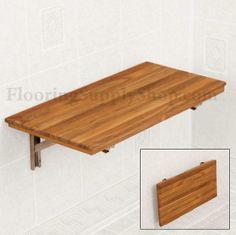 Teak Wood Wall Mount Fold-Down Bench