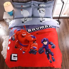 Big Hero Baymax 3D Printed Bedding Comforter Sets Duvet Covers Sheets Children's Boys Bedroom Cotton 600TC Soft Woven Red Color #Affiliate