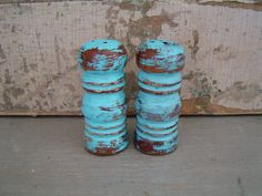 Turquoise Distressed Salt and Pepper Shakers $8