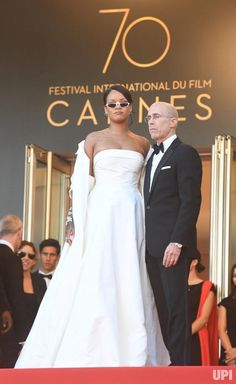 Barbadian singer Rihanna and American producer Jeffrey Katzenberg attend a screening of Okja during the 70th Cannes Film Festival in Cannes…