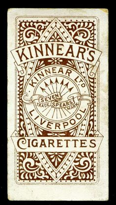 Cigarette Card Back - Kinnear's of Liverpool