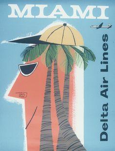 Miami * Delta Air Lines vintage #travel #poster 1957  Jerzy Srokowski #beach www.varaldocosmetica.it/en