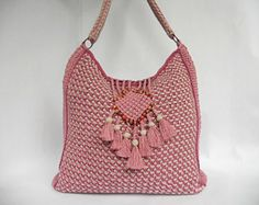 """Patrón de bolso """"Colores de rosas"""" ganchillo tunecino"""