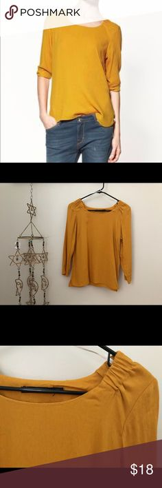 Zara Woman Mustard Top Fantastic Zara Top- features gathered neck detail along with brass side zipper on the left side. Size small. Great condition. Fabric label is cut out but it feels like a polyester fabric. Zara Tops Blouses