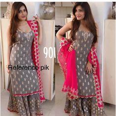 Garara suit - Sleeveless Kurti with Sharara Bollywood Style Indian Look Kurta Designs, Blouse Designs, Salwar Neck Designs, Dress Designs, Pakistani Dresses, Indian Dresses, Indian Outfits, Designer Punjabi Suits, Indian Designer Wear