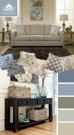 Lighter Blues + Creams (Alenya Sofa - Ashley Furniture HomeStore)
