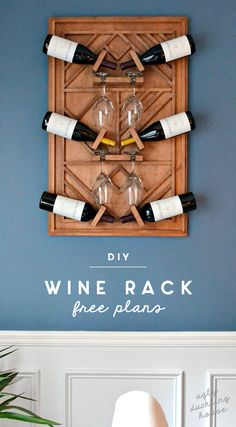 This plywood art wine rack is the exact addition my dining room needed; it adds warmth, a contemporary feel, and function for lots of entertaining! #WineRack #WoodworkingPlansWineRack