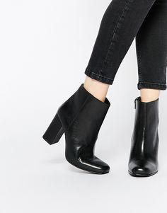 Shop Boohoo Leather Block Heeled Ankle Boots at ASOS. Black Block Heel Boots, Black Combat Boots, Mid Calf Boots, Block Heels, Latest Fashion Clothes, Fashion Shoes, Leather Heeled Boots, Stylish Boots, Lace Up Boots