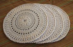 Crochet Mandala Placemat Set. Made from household string. Used this mandala pattern - https://maritparit.com/2014/09/22/the-viola-mandela/
