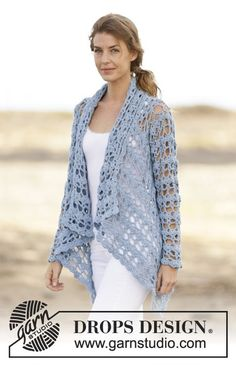 "Spring Bliss - Crochet DROPS jacket with lace pattern in ""Paris"". Size: S - XXXL. - Free pattern by DROPS Design"