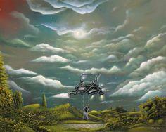 The Cloud Machine: Surreal Pop Landscape Acrylic Painting By Artist Philippe Fernandez Surreal Art, Eclectic Art, Fantasy Art, Surreal Artwork, Fantasy Landscape, Clouds, Surrealism, Original Landscape Painting, Fairytale Art