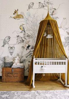 Bird Wallpaper Living Room Color Schemes New Ideas Baby Nursery Neutral, Baby Nursery Decor, Baby Bedroom, Nursery Room, Nursery Ideas, Woodland Nursery, Girl Nursery, Bedroom Yellow, Chic Nursery
