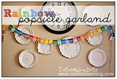 Rainbow Popsicle Garland using paint color samples- cute summer themed party decoration #shopkick #summerparty