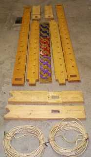 Transportable rope bed with instructions.