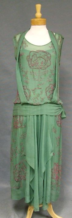 1920s Green and Pink Beaded Silk Evening Gown in a lovely dusky green shade w/metallic embroidery and beaded magenta trees. HAND stitched and beaded. Sleeveless tank style gown w/attached thin strapped sheer under dress (hva).