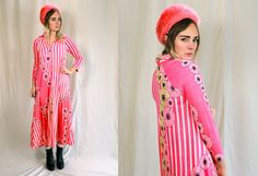 Vintage VTG VG 1970's 70's 1960's 60's Neon Pink Striped Floral Maxi Dress Long Sleeved Pajamas Nightgown Formal Hipster Mod Retro Women's by foxandfawns on Etsy