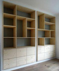 Super plywood furniture design built ins ideas Office Furniture Design, Home Office Design, Muebles Living, Bookshelf Design, Creative Bookshelves, Plywood Furniture, Plywood Bookcase, Bookcase Shelves, Wall Shelving