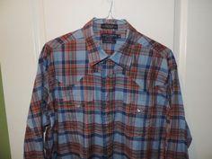Daniel Cremieux Mens Cowboy 100% Cotton Blue Plaid Western Style Shirt XL Mint (Pre-Owned)