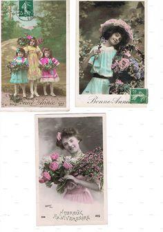 Postcards.Antique.THREE.retro.Paris.french.rare.scrap by studioflowerpower, $13.50