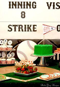 Baseball party dessert table ~ so many fun elements!