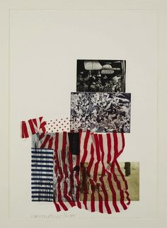 Robert Rauschenberg// In this image he uses a collage of images including photographs and paper/fabric to build up layers. Something interesting about this is the composition, how it build up from the bottom, there are more layers further down the image. The red lines bring a sudden boldness, and jolt to the images.