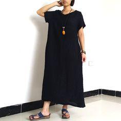 Women Maxi Dress Loose Fitting Linen Dress short by loosedress2015