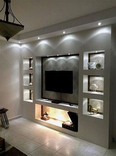 Room Shelves Lights - The Beauty and Comfort Of The Ideal Living Room Living Room Shelves Lights - The Beauty and Comfort Of The Ideal Living Room.Living Room Shelves Lights - The Beauty and Comfort Of The Ideal Living Room. Living Room Tv Unit, Living Room Shelves, Home Living Room, Living Room Designs, Living Room Decor, Tv Wall Ideas Living Room, Living Room Ideas With Fireplace And Tv, Living Room Spotlights, Bedroom Tv Wall