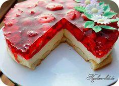 Rezept für einen Erdbeerkuchen mit Quark ohne Backen. Cake Cookies, Waffles, Cheesecake, Sweets, Sugar, Baking, Breakfast, Desserts, Food
