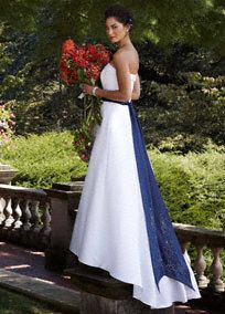 Strapless satin A-line, cuff neckline and pleated sash at waist.   Sweep train. Available online inWhite and Ivory.  Color sashes & ribbons sold separately.