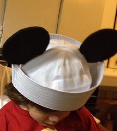 Ami needs sailors for his ship so I made some Mickey sailor hats! I made them by using cotton sailor hats and cut out thick foam ears and hot glued them onto the hats.