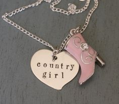 Personalized Country Girl Necklace, Gift for Best Friend, Gift for Besty, Pink Boot Charm, Cowgirl Jewelry, Personalized Heart Necklace