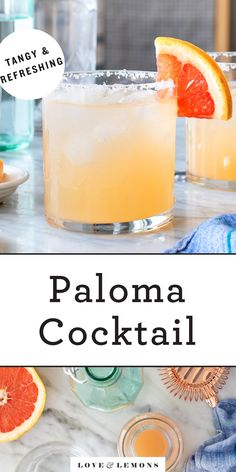 This easy paloma recipe is perfect for Cinco de Mayo, happy hour, or anytime you're craving a fun drink! Made with fresh grapefruit juice and sparkling water, it's a lightened-up version of a classic paloma cocktail. Fun Drinks, Yummy Drinks, Yummy Food, Summer Beverages, Orange Creamsicle, Baby Food Recipes, My Recipes, Healthy Recipes, Drink Recipes