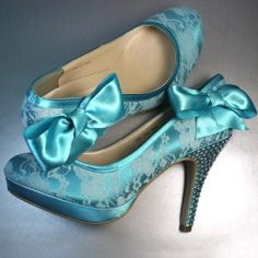 Jade Wedding Shoes with Lace Overlay, Rhinestone Covered Heels and Matching Bow