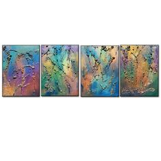 ❘❘❙❙❚❚ ON SALE ❚❚❙❙❘❘ Huge Original Abstract Painting, Textured Metallic Art TITLE : LUCKY STAR SIZE : 72X 20X 3/4 4 PANELS OF 20X 18X 3/4 (RICH TEXTURE ,METALLIC ,HIGH GLOSS FINISH ) This Contemporary abstract modern painting was painted on gallery wrapped acid free