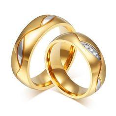 2pcs 18k Gold Plated Titanium Steel Couple Ring Engagement Wedding Promise Rings
