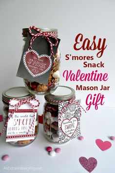 Bless your friends and family with these sweet and so easy S'mores Valentine's Day snack mixes in a Mason jar. They are quick and easy to assemble and Valentine's Day lovers and haters are going to love them. Make a bunch and make someone's day!