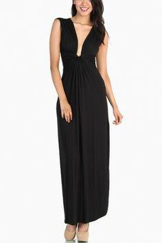 Knot Front Maxi Dress - Black