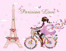 "Universe of goods - Buy ""Flower Fairy Wall Stickers Beautiful Girl Cyclist Tower Wall Decal Home Decor Living Room Bedroom Adornment Romantic Art Mural"" for only USD. Wall Stickers Paris, Diy Wall Stickers, Kids Stickers, 3d Wall Decals, Removable Vinyl Wall Decals, Nursery Wall Decals, Mural Wall, Paris Wall Art, Kids Room Art"