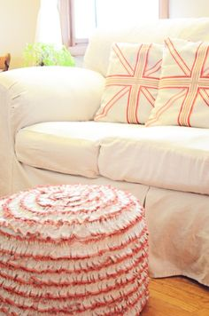 lovely sofa slipcover and pillows Go to site listed for video tutorial of how to make your own slipcover