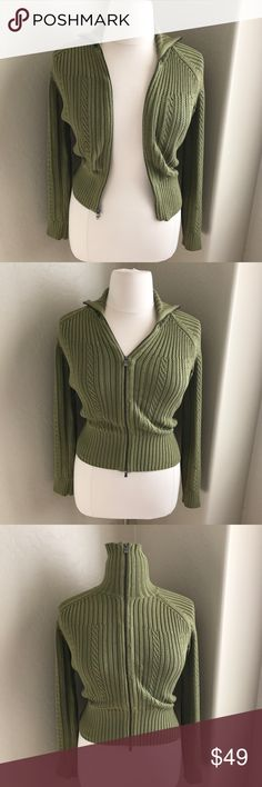 TOMMY BAHAMA OLIVE KNIT SWEATER JACKET MED SILK Super comfy and so warm! This silk/cotton blend zip up jacket is the perfect little sweater you will wear this winter! In the most trendiest color of the season, knit detail. Amazing how soft this is! Thick and cozy! Flawless, great condition! Tommy Bahama Sweaters