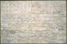 Jasper Johns, White Flag, 1955, Encaustic, oil, newsprint, and charcoal on canvas, 198.9 x 306.7 cm,