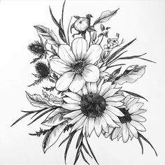 Sunflower & Cosmos Floral Art Print Wall Art Original Ink Drawing Botanical Floral Illustration Minimalist Home Decor Piercings, Piercing Tattoo, Arm Tattoo, Sleeve Tattoos, Beautiful Flower Tattoos, Tattoo Addiction, Floral Illustrations, Botanical Illustration, Sunflower Tattoos