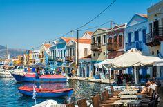 Cafe at the sea coast. Kastelorizo island, Greece