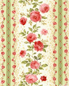Elm Creek Quilts - Sarah's Rose Stripe - Seafoam Green
