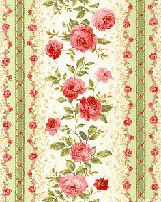 Elm Creek Quilts - Sarah's Rose Stripe - Seafoam Green