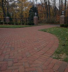 Great driveway featuring our Albany pavers! Cobblestone Pavers, Brick Projects, Paving Design, Brick Patios, Brick And Stone, Backyard Patio, Curb Appeal, Photo Galleries, Landscaping