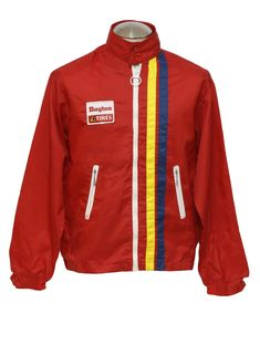 70s -Louisville Sportswear- Mens red, navy blue and yellow nylon longsleeve windbreaker style racing jacket with strips down the left front,...