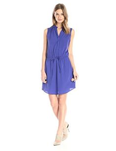 RD Style Womens Poly Crepe Drawstring Waist Dress Orient Blue Small * Continue to the product at the image link.