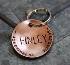 Custom Dog Tag / Custom Pet ID Tag - Lucy - in 1.25'' Domed Copper on Etsy, $16.00